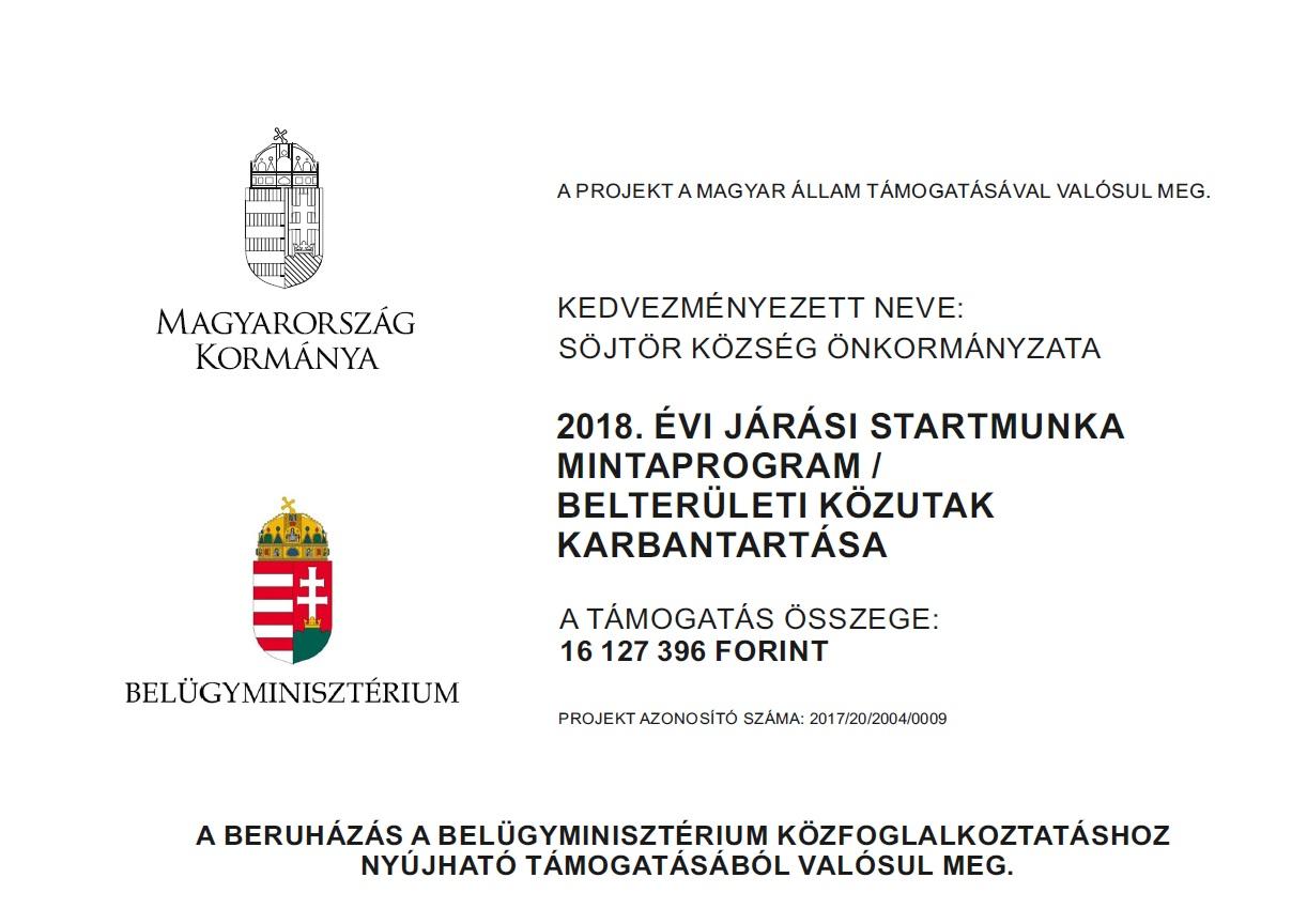 2018. ÉVI JÁRÁSI STARTMUNKA MINTAPROGRAM / BELTERÜLETI KÖZUTAK KARBANTARTÁSA