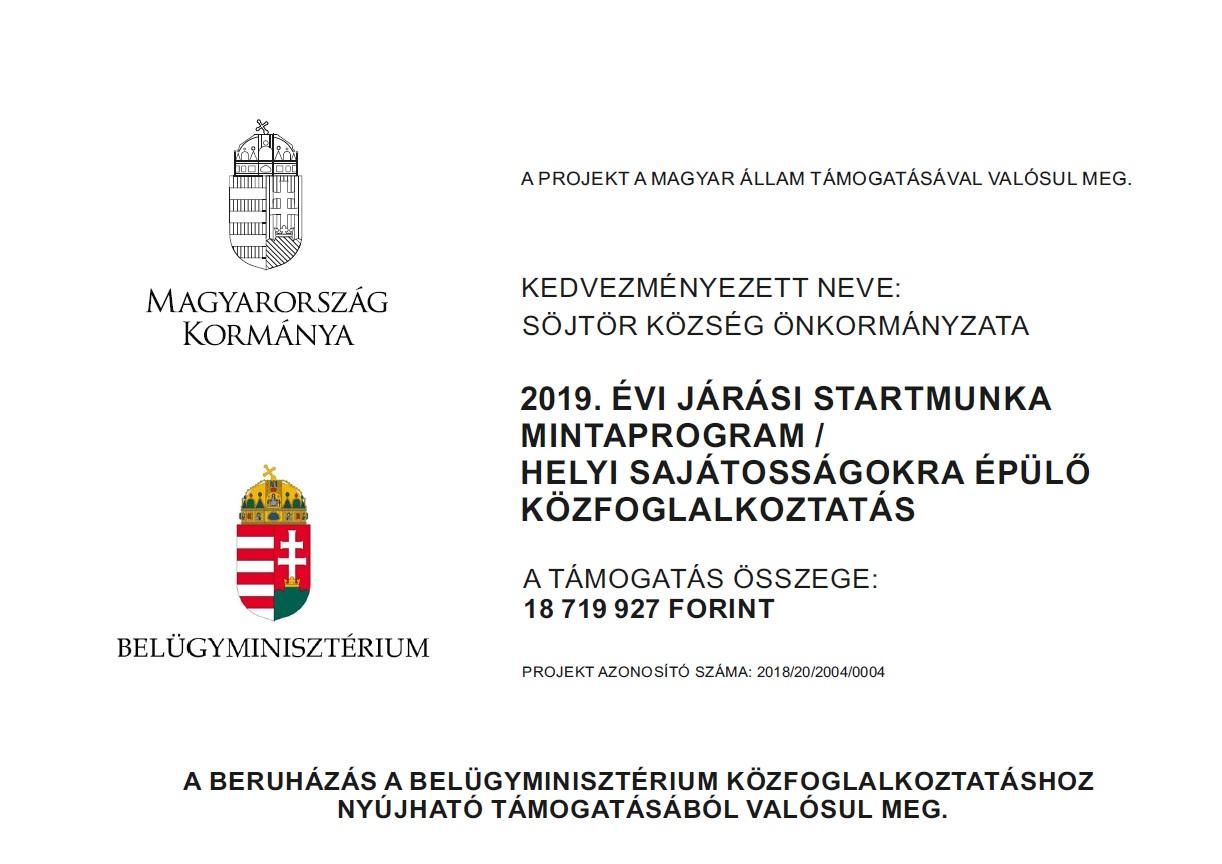 2019. ÉVI JÁRÁSI STARTMUNKA MINTAPROGRAM / HELYI SAJÁTOSSÁGOKRA ÉPÜLŐ KÖZFOGLALKOZTATÁS