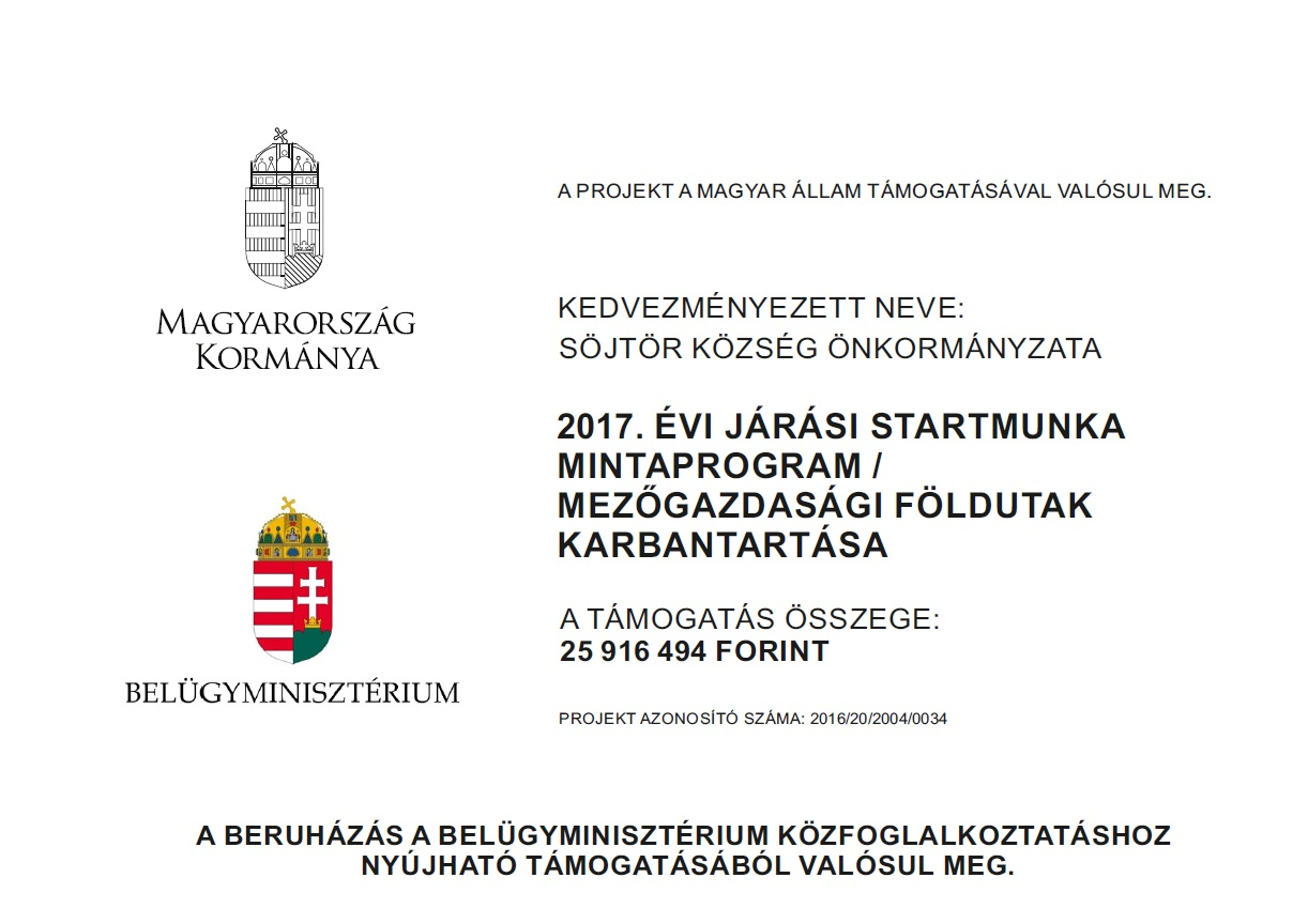 2017. ÉVI JÁRÁSI STARTMUNKA MINTAPROGRAM / MEZŐGAZDASÁGI FÖLDUTAK KARBANTARTÁSA